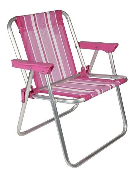 Cadeira De Praia Infantil Dobrável Alta Alumínio