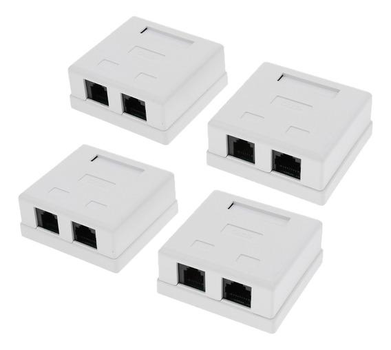 4 Pacotes 2 Porta Rj45 Surface Mount Box Branco (somente Cai