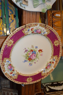 Antiguo Plato Decorativo Inglés Guarda Bordó Con Flores