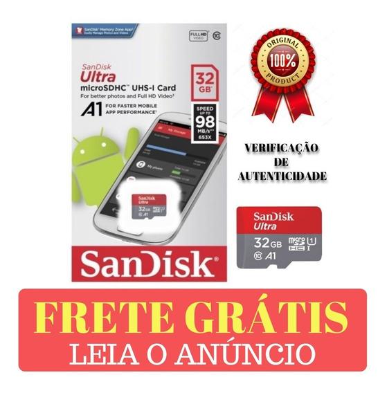 Cartão De Memória 32gb Sandisk Classe 10 Ultra Rápido Original Celular Android Leitura Rápida 98mb/s Original