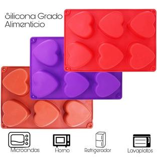 Molde Silicon Corazón 6 Cavidades, Hornear/gelatina/jabón