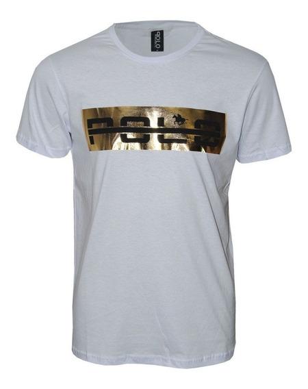Camiseta Masculina Com Foil Dourado Polo