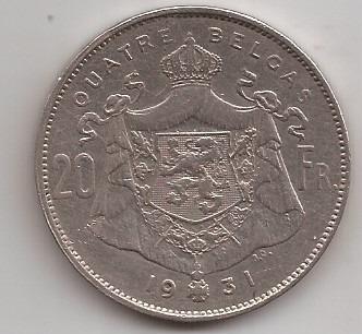 Belgica Moneda De 20 Francos Año 1931 Escasa !!