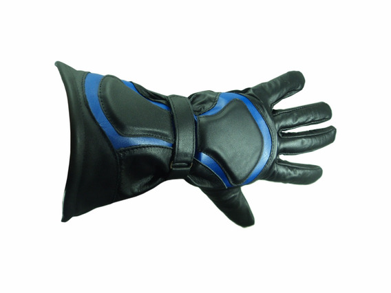 Luva Moto Artesanal Preto Com Azul ( M ) Couro Bovino