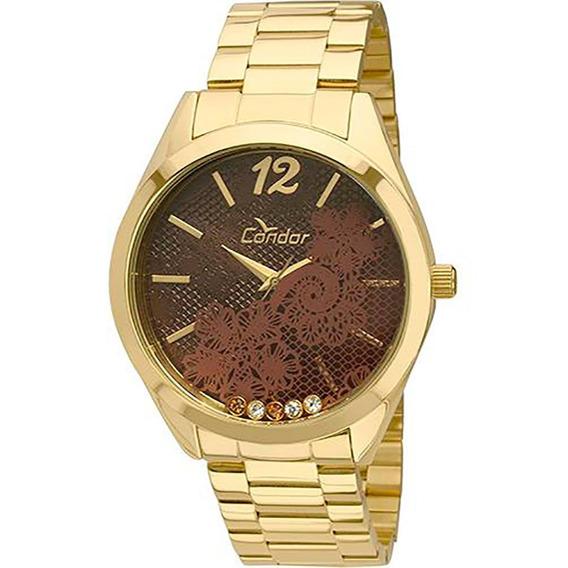 Relógio Condor Feminino Dourado Co2036ct/4m Novo De Vitrine