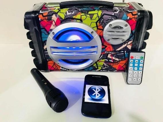 Som Ecopower Mp3 Usb Bluetooth Fm Microfone Karaokê - Melhor