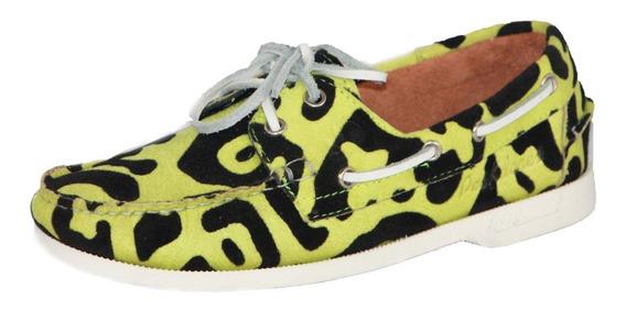 Zapatos Nauticos Mocasines Peskdores Verde Leopardo Ve00052