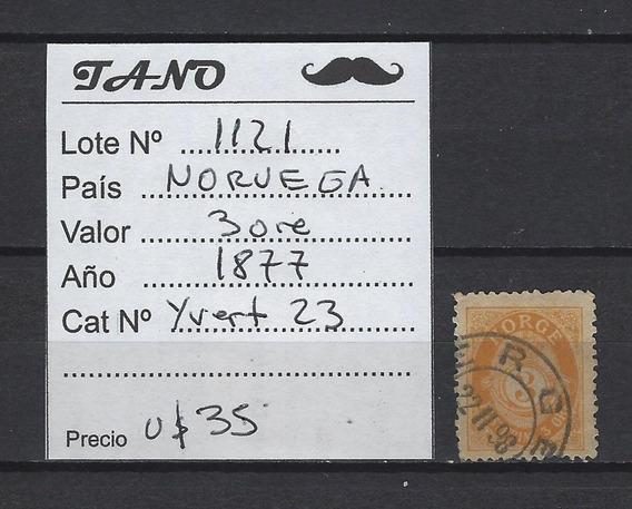 Lote1121 Noruega 3 Ore Año 1877 Yvert# 23 Buen Valor Cat.