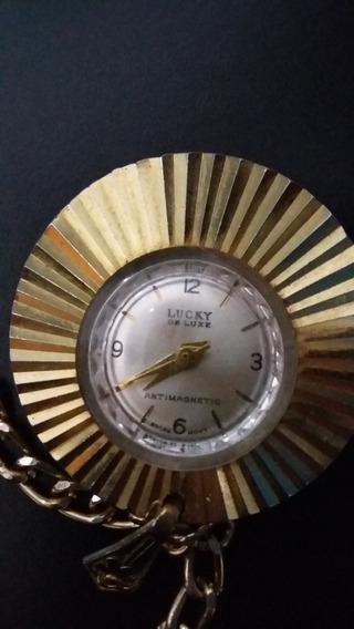 Relógio De Corente Feminino Antigo A Corda Lucky Antimagneti