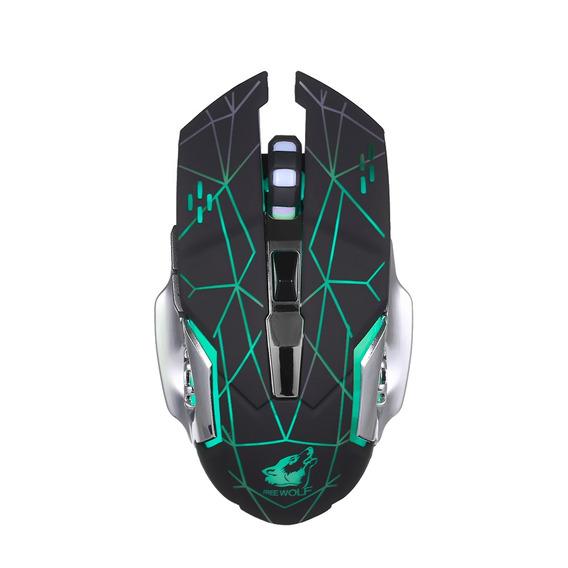Lobo Livre Gaming Mouse Sem Fio 2400dpi 7 Luzes De