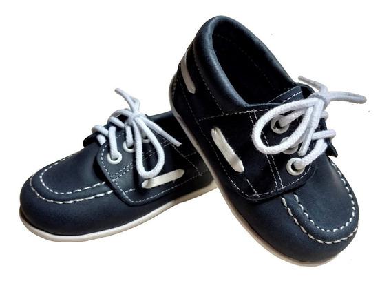Zapato Náutico Bebe Niño 100% Cuero Azul/negro/marrón