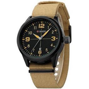 Relógio Masculino Curren Analógico 8195 Bege E Preto