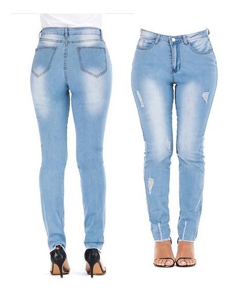 Cintura Alta Trecho Longos Jeans Para Senhora