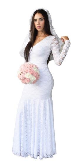 Vestido De Noiva Casamento Longo Sereia Justo Em Renda