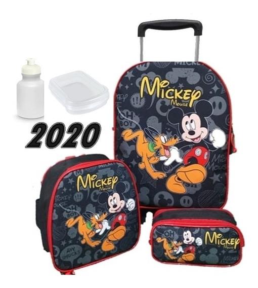 Mochila Infantil Masculina Mickey Com Rodinhas Lançamento Ano