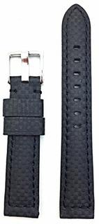 Banda Reloj Cuero Fibra Carbono Negra 18 Mm | Pulsera Repues