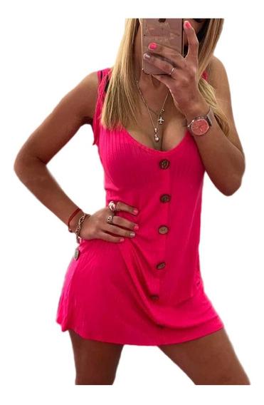 Vestido Liso Mujer Morley Botones Al Cuerpo Escote Fiesta