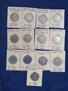 Monedas 20 Pesos México. Paquete De 13 Piezas