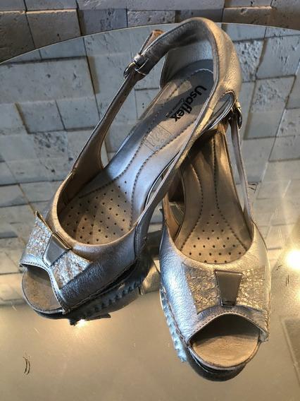 Sapato Feminino Usaflex Couro Salto Quadrado