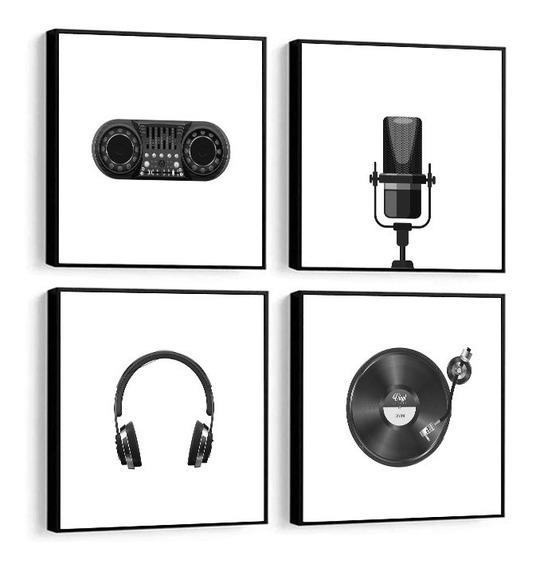 Quadro Decorativo Música Rádio Mic Fone Disco Pb Decor 32x32