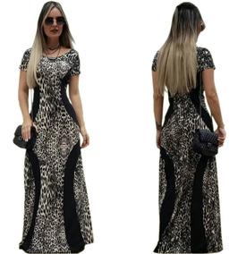 Vestido Feminino Longo Evangélicas Afina Cintura Estampas