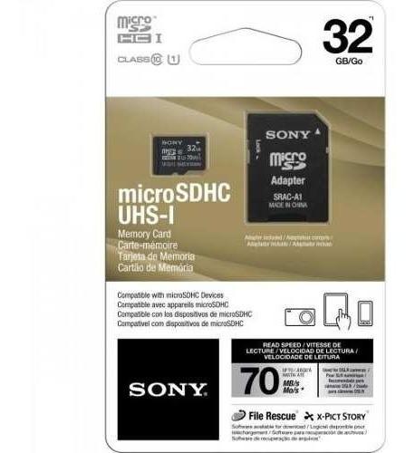 Cartão De Memória 32gb Sony Micro Sdhc + Adaptador Classe 10