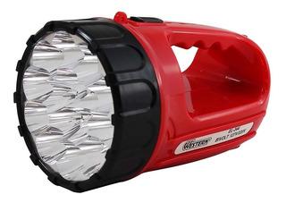 Lanterna Recarregável 15 Leds Alça Western Vermelha