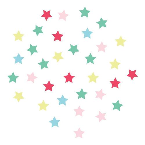 Imagem 1 de 4 de Adesivo De Parede Infantil Estrelas Coloridas Rosa E Azul 10