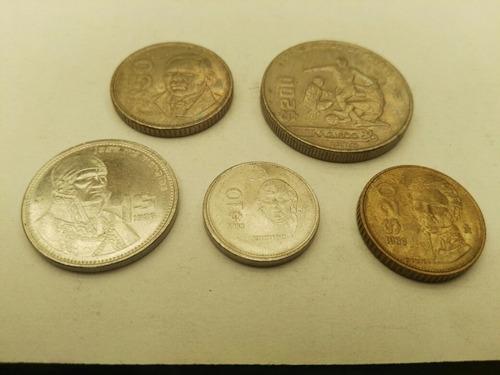 Monedas Mexicanas 1986 Lote 5 : 1 10 20 50 200 Pesos