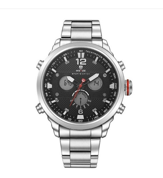 Relógio Masculino Weide Analógico Digital- Prata E Preto