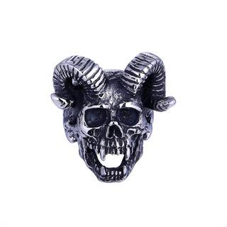 Anel Caveira - Caveira Demônio - Crânio - Moto - Carro - Aço