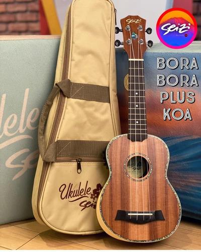Ukulele Seizi Bora Bora Plus Soprano Elétrico Bag Koa