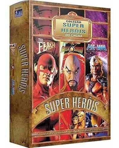Box 3 Dvd Coleção Super Heróis Do Cinema He-man Flash Gordon
