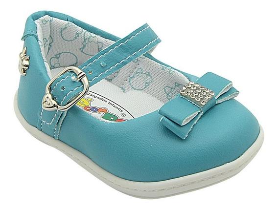 Sapato Infantil Feminino Menina Turquesa Pé Com Pé
