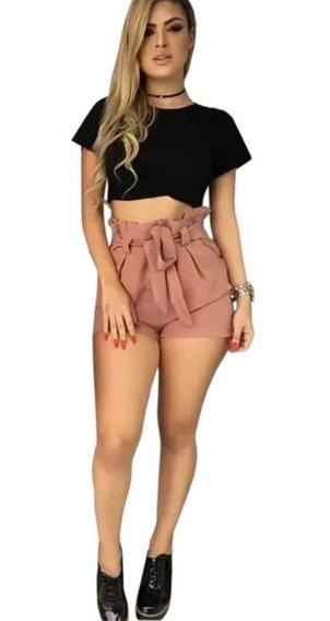 Shorts Shortinho Crepe Laço Cintura Alta Roupas Feminina
