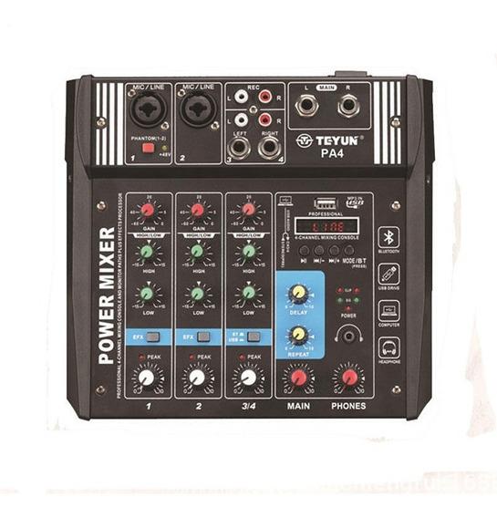 Consola Mixer 4 Canales Potenciada Interfaz Usb/bt/phantom