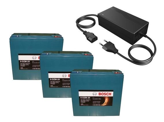 Kit 3 Bateria 12v 24ah Bike Eletrica Carregador 36v