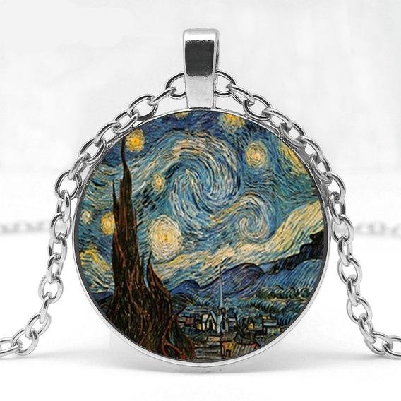 Colar Van Gogh Pingente Arte Pinturas Noite Estrelada Prata