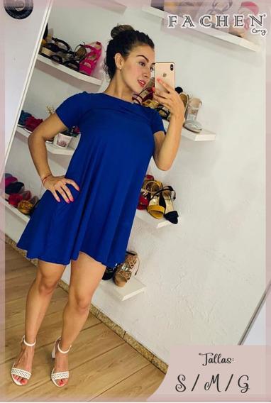 Vestido Linea A Azul Rey Extra
