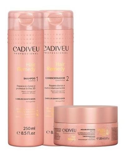Cadiveu Hair Remedy Kit Para Cabelos Danificados -3 Produtos