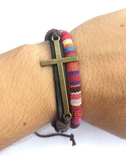 Pulseira Cruz Jesus Detalhada Couro