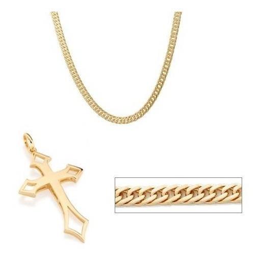 Colar Masculino Folheado Ouro 18k Crucifixo Com Garantia Top