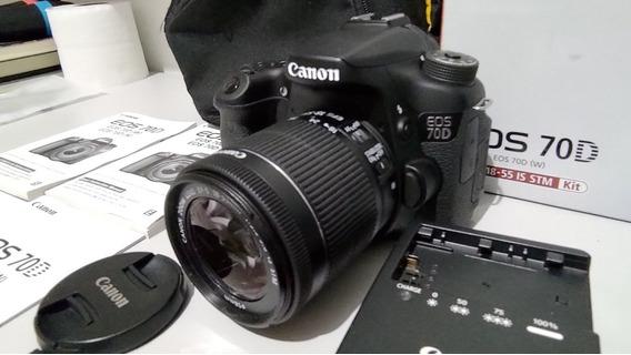 Kit + Câmera Canon 70d + Lente 18-55mm + 2 Cartões E Bolsa