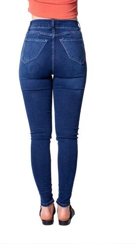 Pantalon Jeans Chupin Elastizado Tiro Alto Para Mujer Mercado Libre