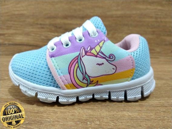 Tênis Infantil Feminino Unicornio Escolar Leve Resistente