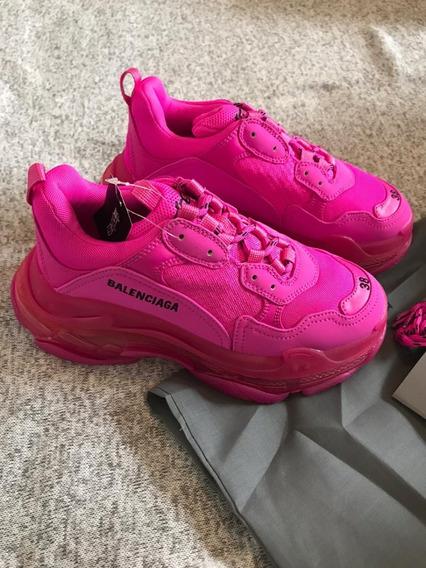 Balenciaga Triple S Tenis Rosa Neon 37eu