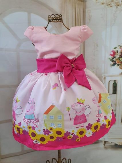 Vestido Peppa Luxo Temático Infantil Festa