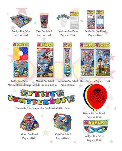 Kit Decorativo Infantil Paw Patrol 12 Invitados + Obsequio