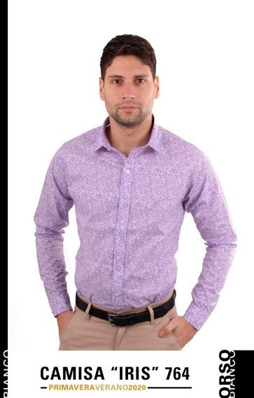 Camisa Hombre Slim Fit Floreada Orso Bianco Xl