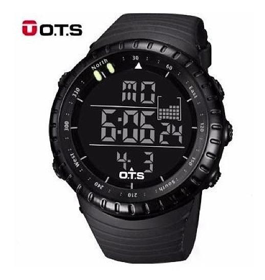 Relógio Ots Digital Esportivo Militar Shock Black + Brinde